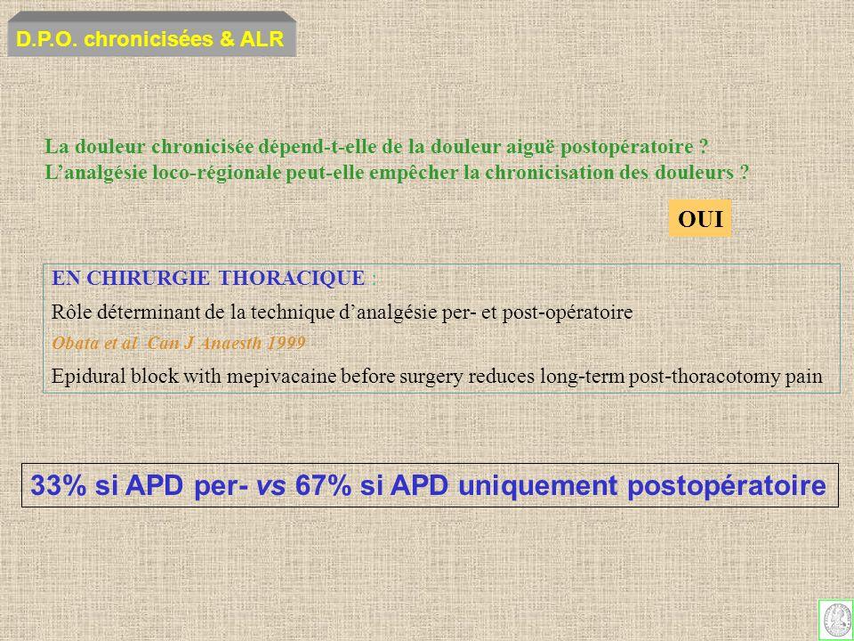 33% si APD per- vs 67% si APD uniquement postopératoire