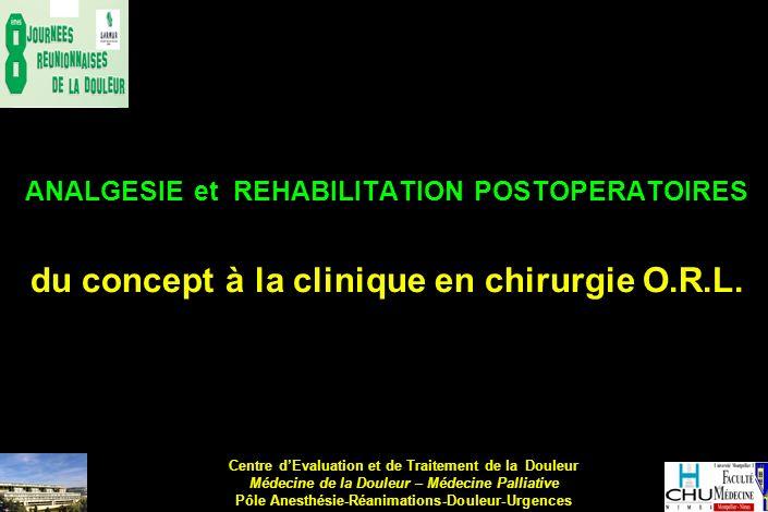 ANALGESIE et REHABILITATION POSTOPERATOIRES