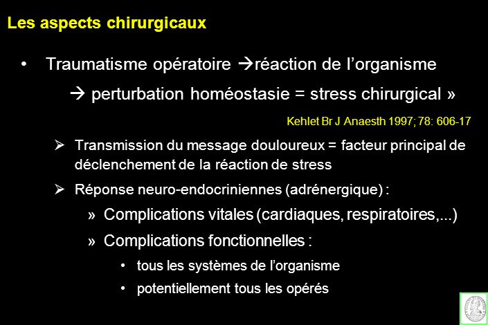Les aspects chirurgicaux