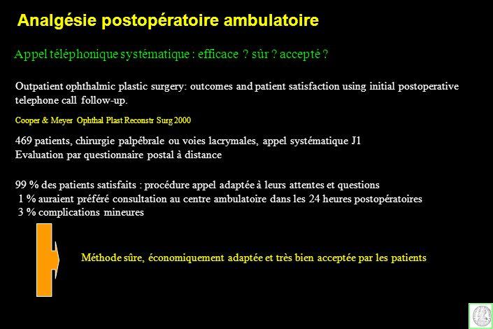 Analgésie postopératoire ambulatoire