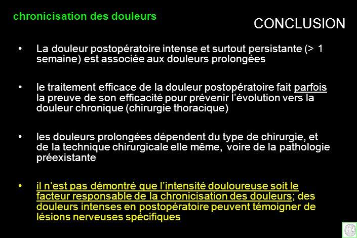 CONCLUSION chronicisation des douleurs