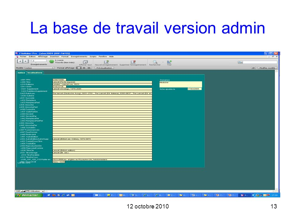 La base de travail version admin