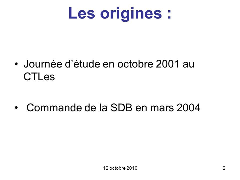 Les origines : Journée d'étude en octobre 2001 au CTLes