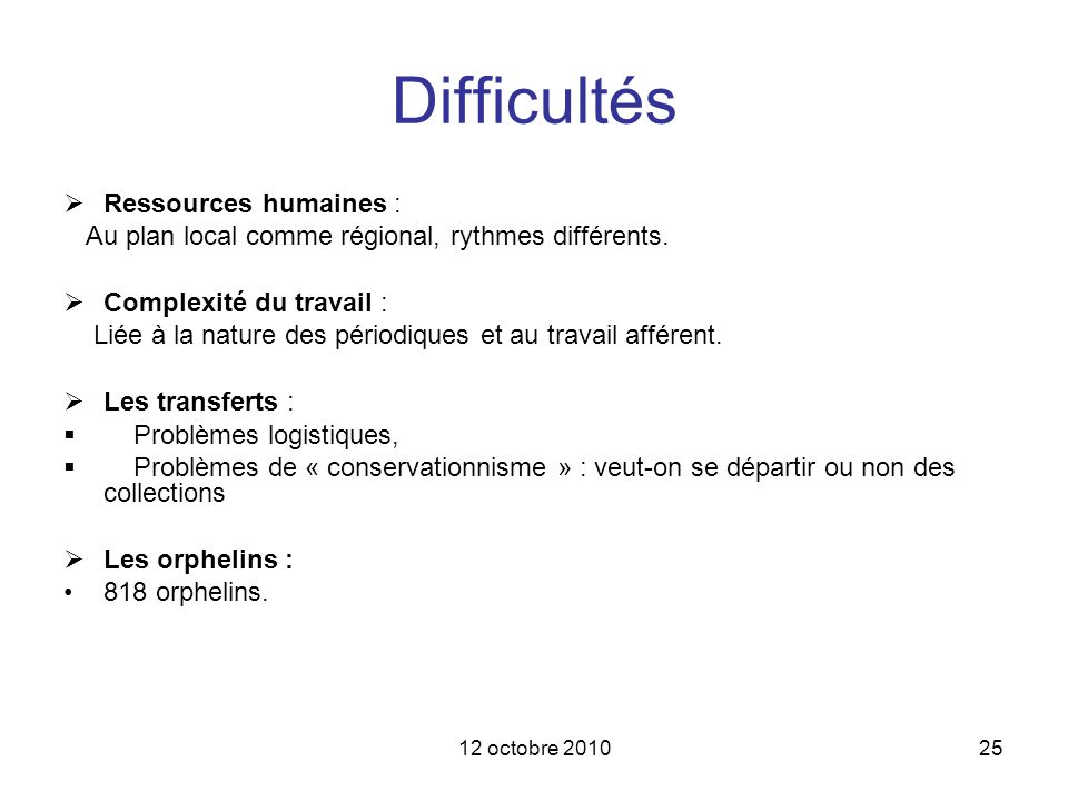 Difficultés Ressources humaines :