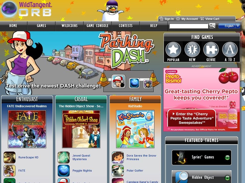 Distribution wildtangent page, miniclip, girlgogames, agame, jeux