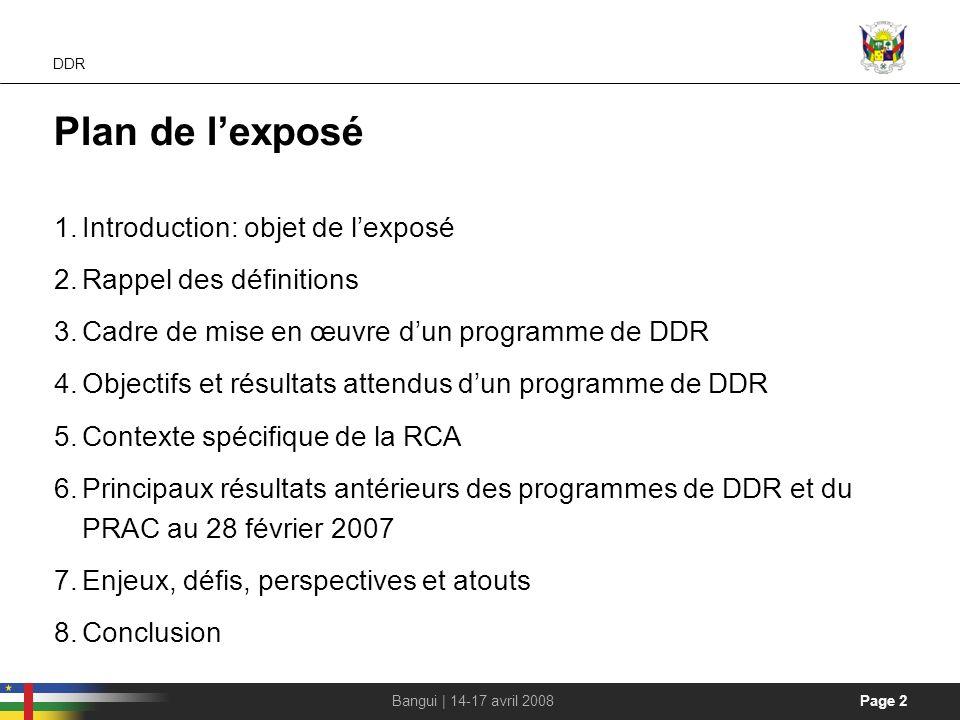 Plan de l'exposé Introduction: objet de l'exposé