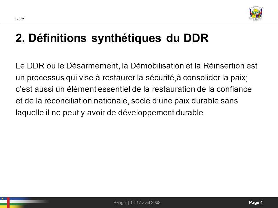 2. Définitions synthétiques du DDR