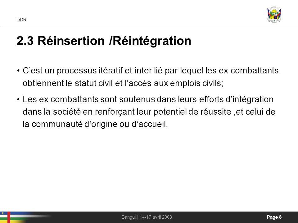 2.3 Réinsertion /Réintégration
