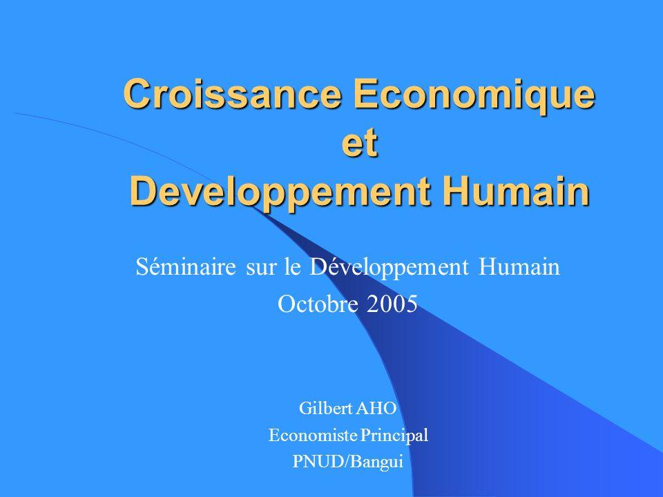 Croissance Economique et Developpement Humain