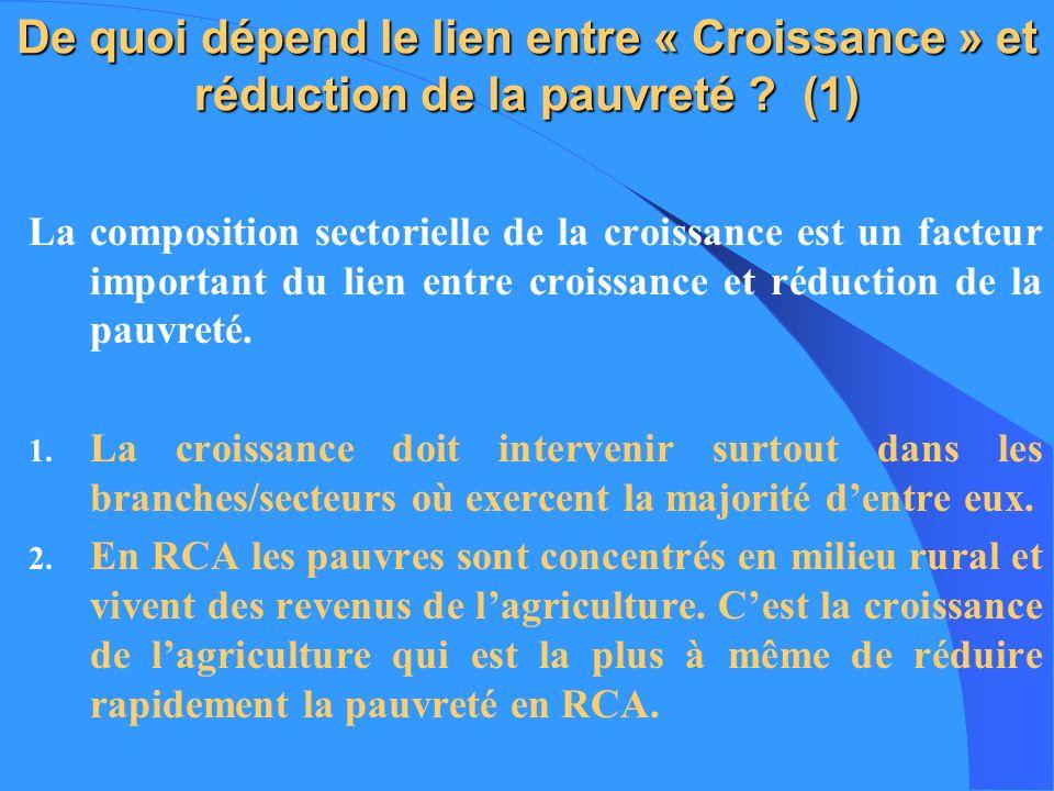 De quoi dépend le lien entre « Croissance » et réduction de la pauvreté (1)