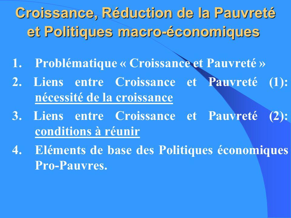Croissance, Réduction de la Pauvreté et Politiques macro-économiques
