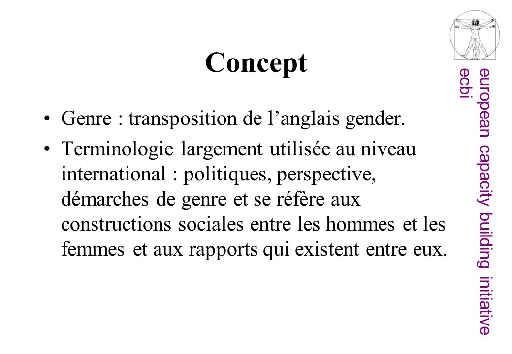 Concept Genre : transposition de l'anglais gender.