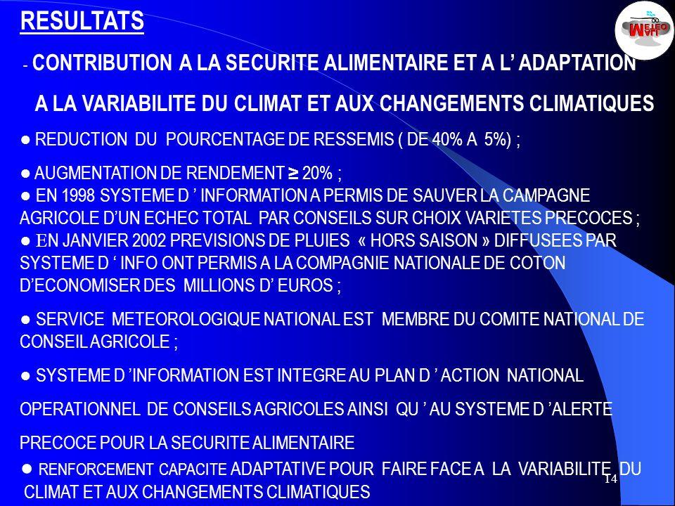 RESULTATS A LA VARIABILITE DU CLIMAT ET AUX CHANGEMENTS CLIMATIQUES