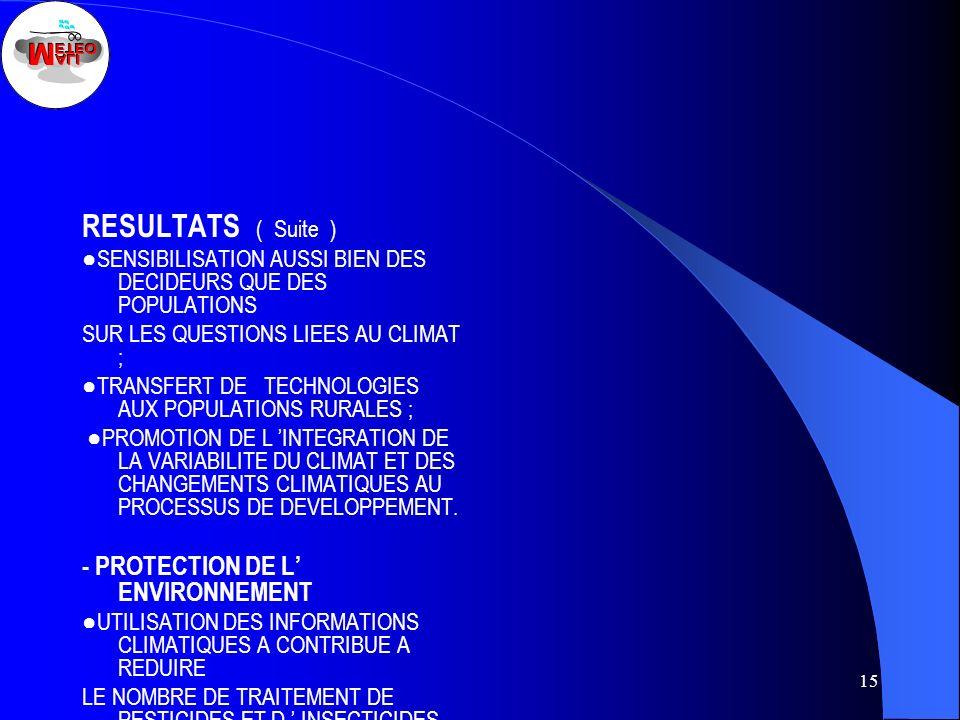 RESULTATS ( Suite ) - PROTECTION DE L' ENVIRONNEMENT