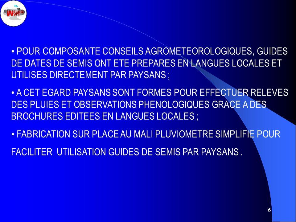 • POUR COMPOSANTE CONSEILS AGROMETEOROLOGIQUES, GUIDES DE DATES DE SEMIS ONT ETE PREPARES EN LANGUES LOCALES ET UTILISES DIRECTEMENT PAR PAYSANS ;