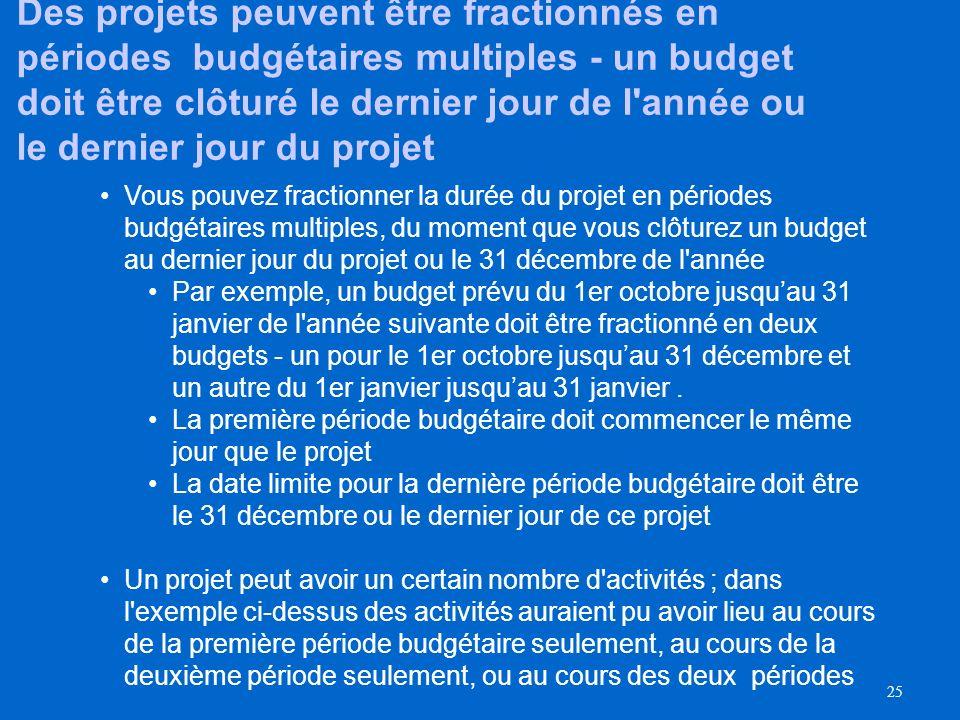 Des projets peuvent être fractionnés en périodes budgétaires multiples - un budget doit être clôturé le dernier jour de l année ou le dernier jour du projet