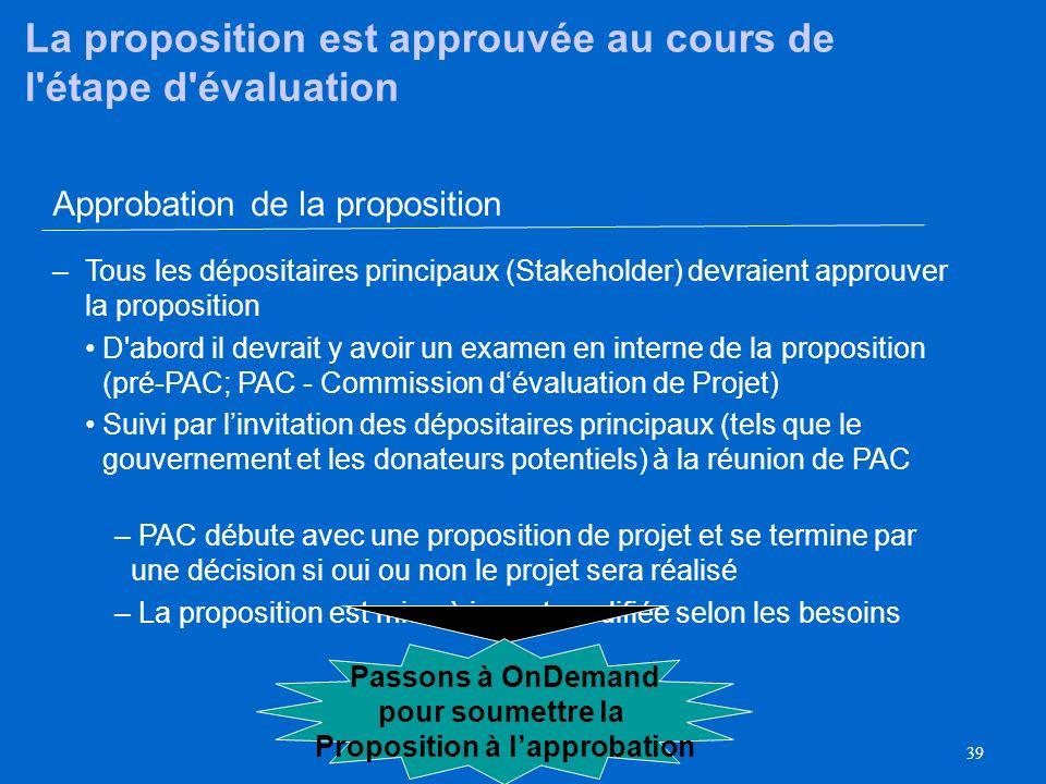 La proposition est approuvée au cours de l étape d évaluation