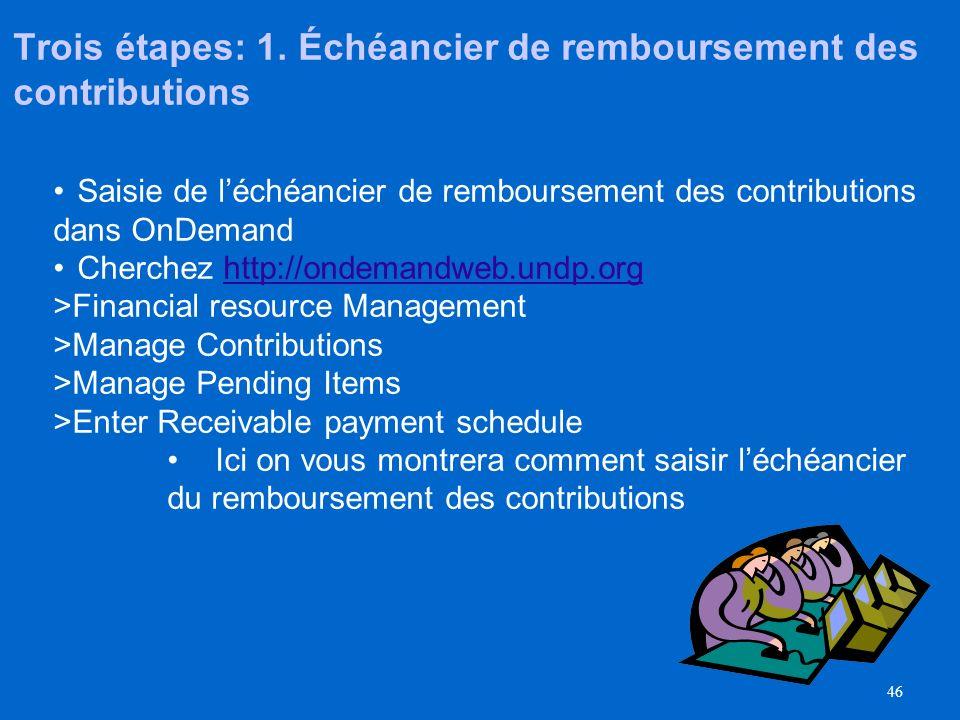 Trois étapes: 1. Échéancier de remboursement des contributions