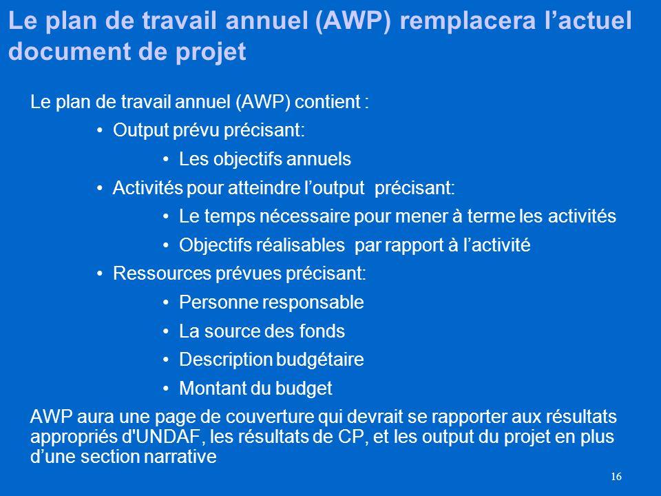 Le plan de travail annuel (AWP) remplacera l'actuel document de projet
