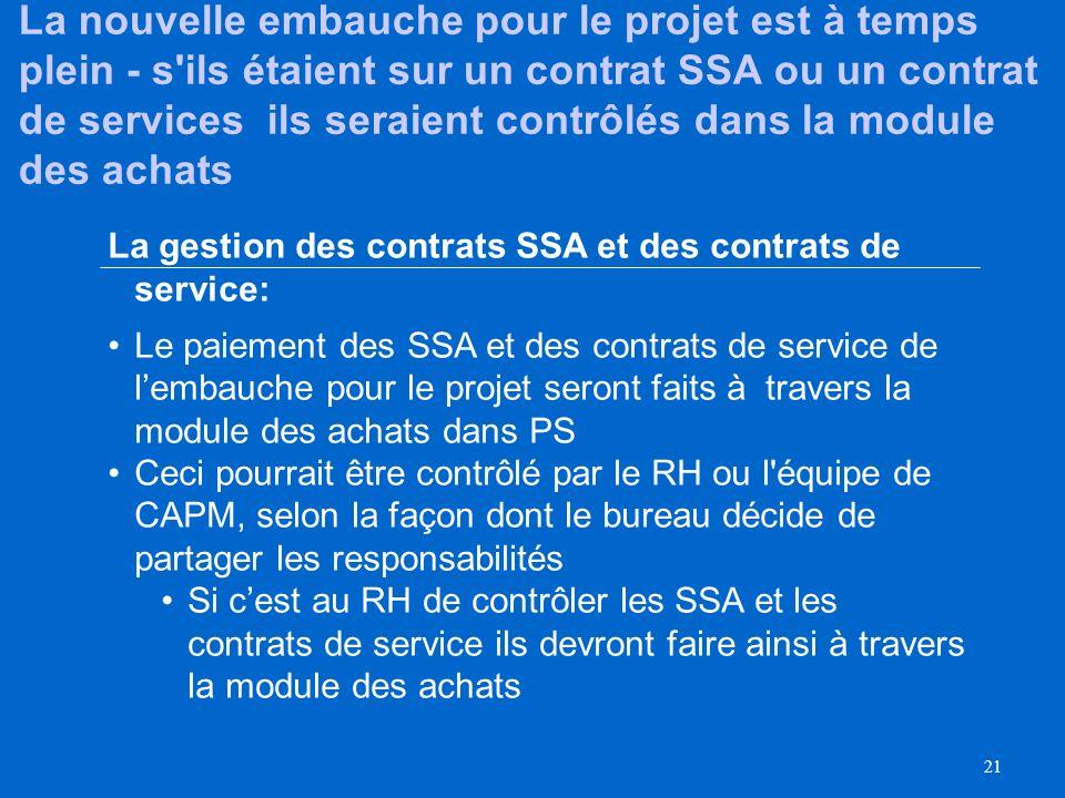 La nouvelle embauche pour le projet est à temps plein - s ils étaient sur un contrat SSA ou un contrat de services ils seraient contrôlés dans la module des achats