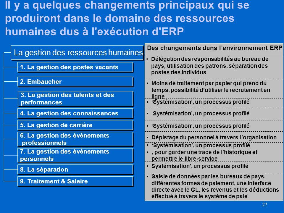 Il y a quelques changements principaux qui se produiront dans le domaine des ressources humaines dus à l exécution d ERP