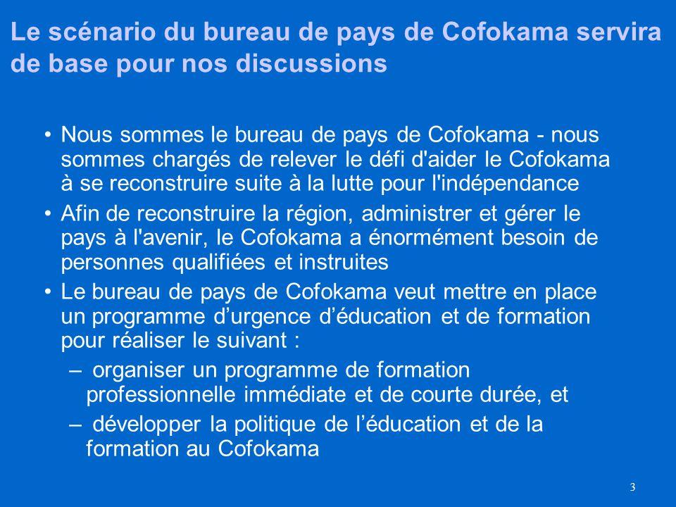 Le scénario du bureau de pays de Cofokama servira de base pour nos discussions