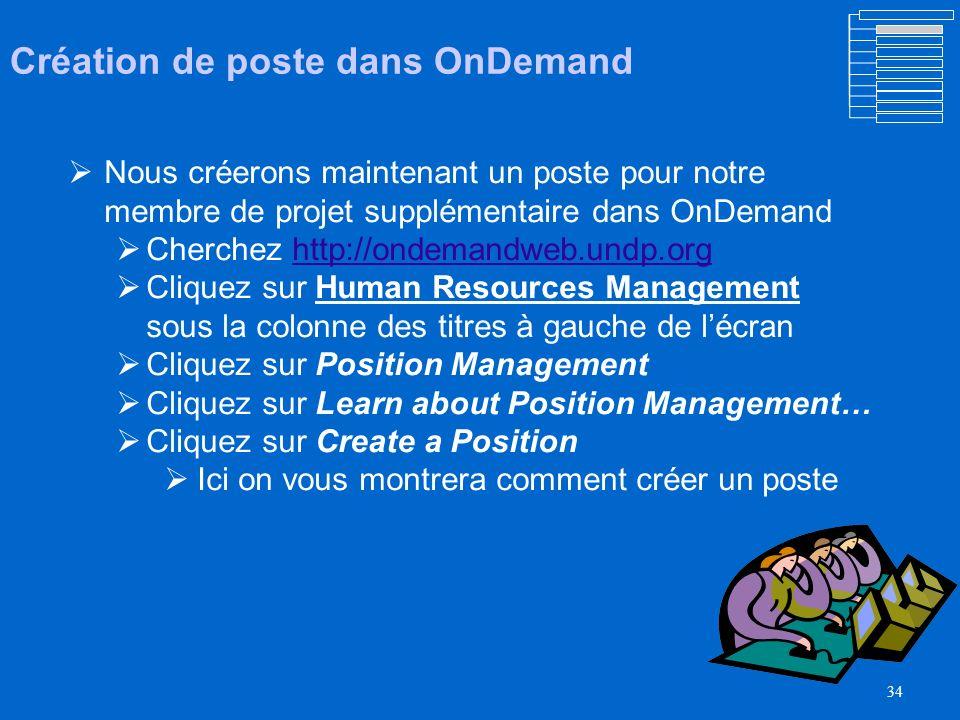 Création de poste dans OnDemand