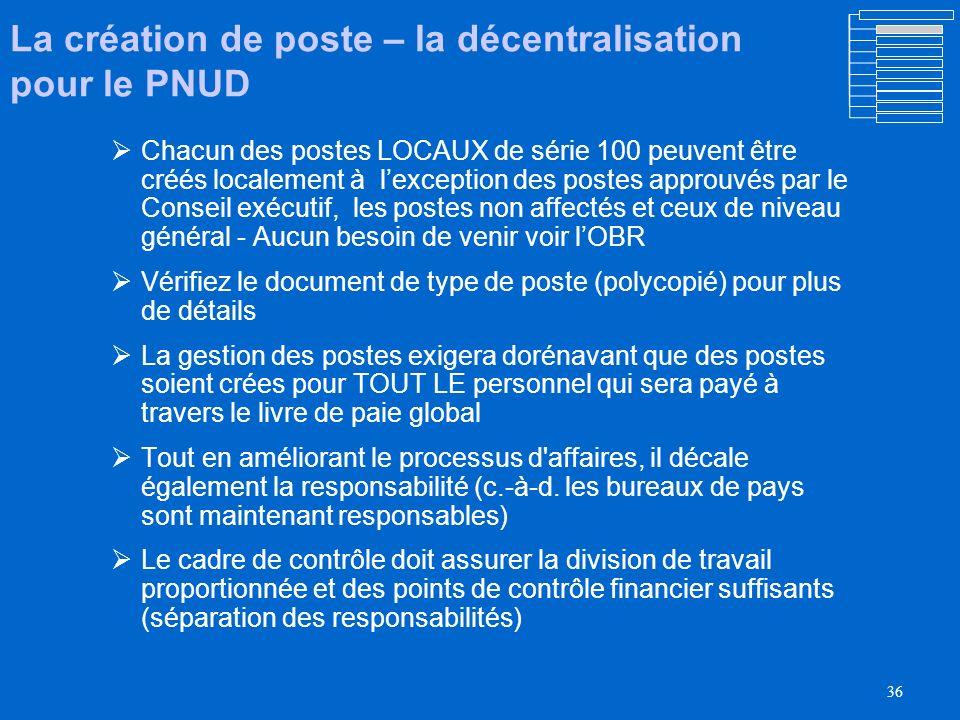 La création de poste – la décentralisation pour le PNUD