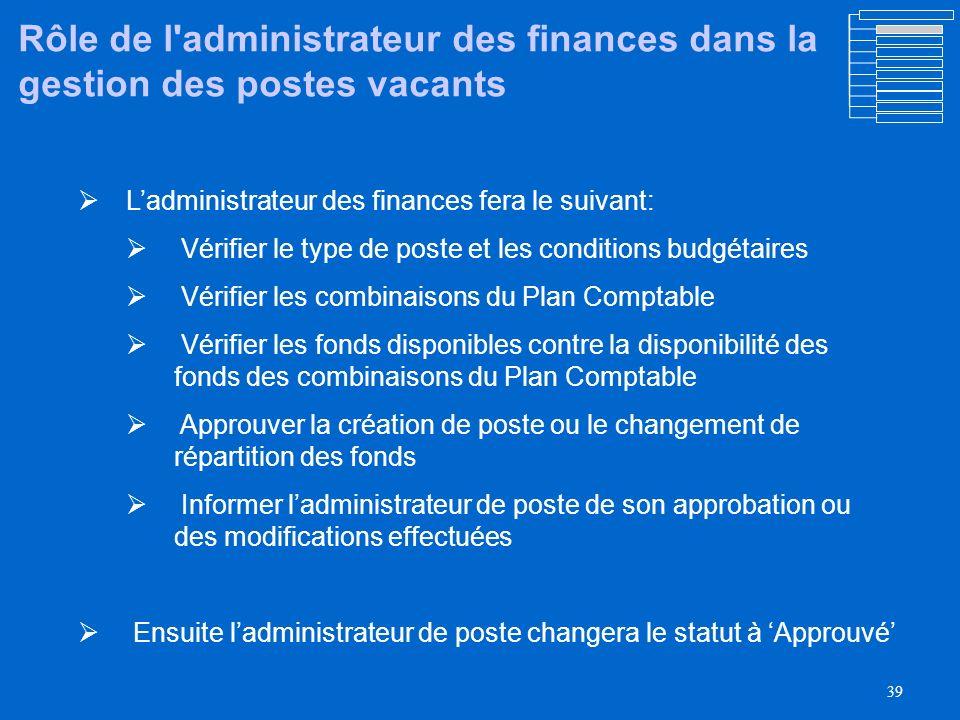 Rôle de l administrateur des finances dans la gestion des postes vacants