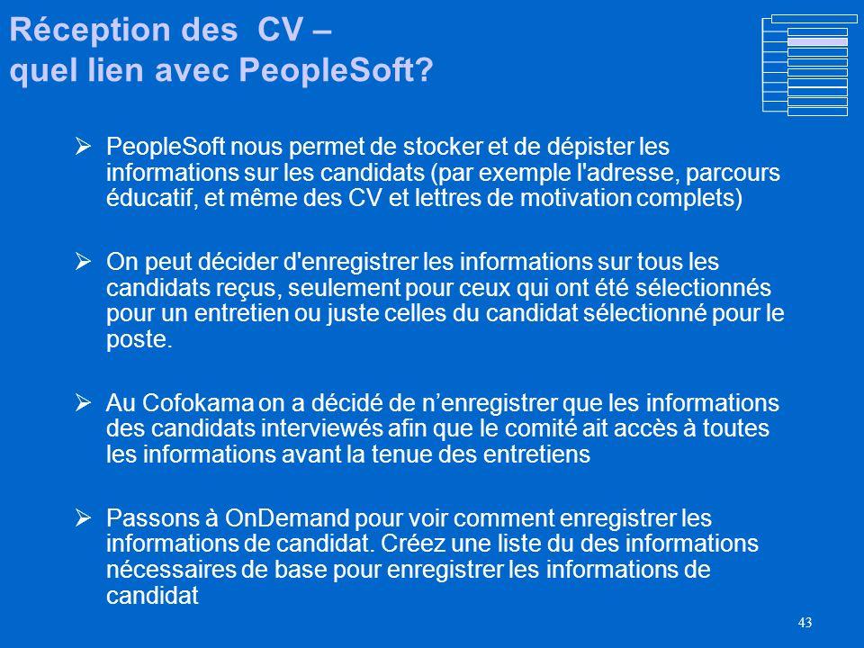 Réception des CV – quel lien avec PeopleSoft