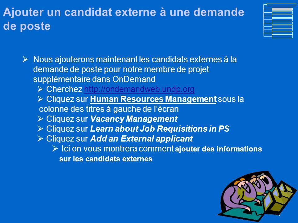 Ajouter un candidat externe à une demande de poste