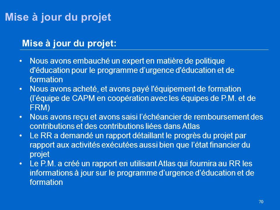 Mise à jour du projet Mise à jour du projet:
