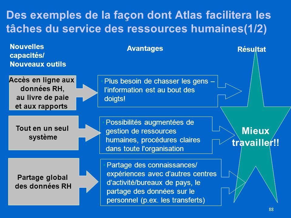 Des exemples de la façon dont Atlas facilitera les tâches du service des ressources humaines(1/2)