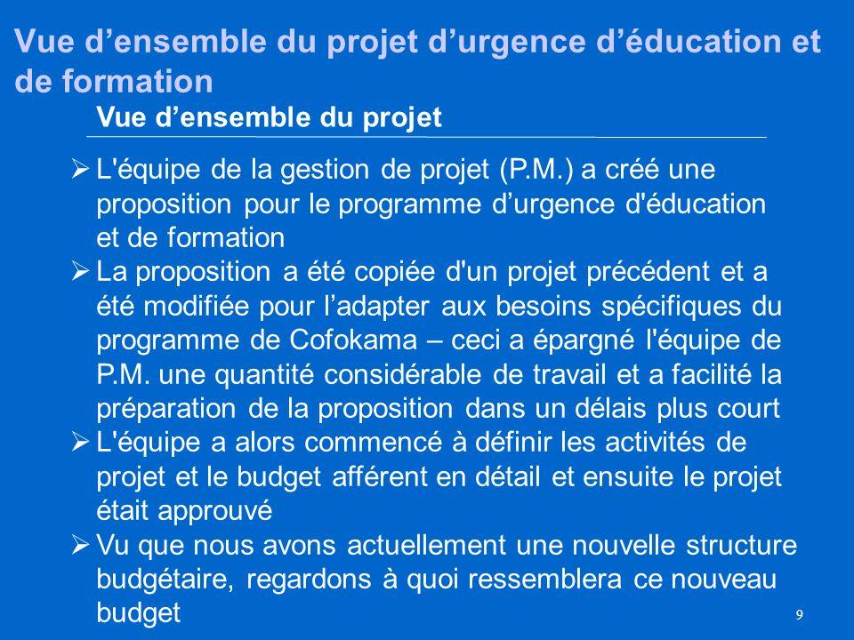 Vue d'ensemble du projet d'urgence d'éducation et de formation