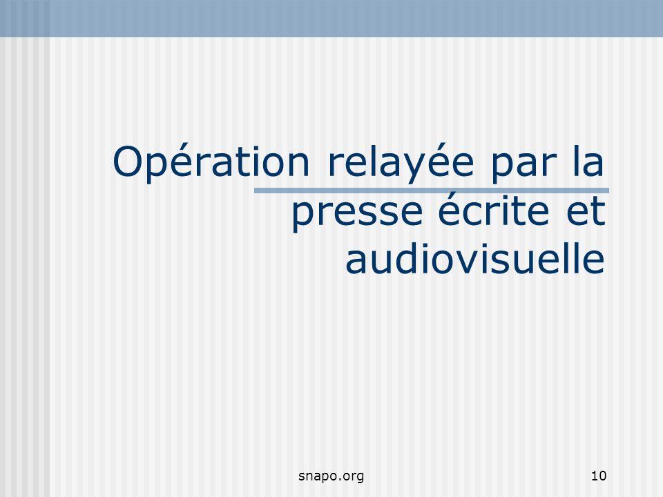 Opération relayée par la presse écrite et audiovisuelle