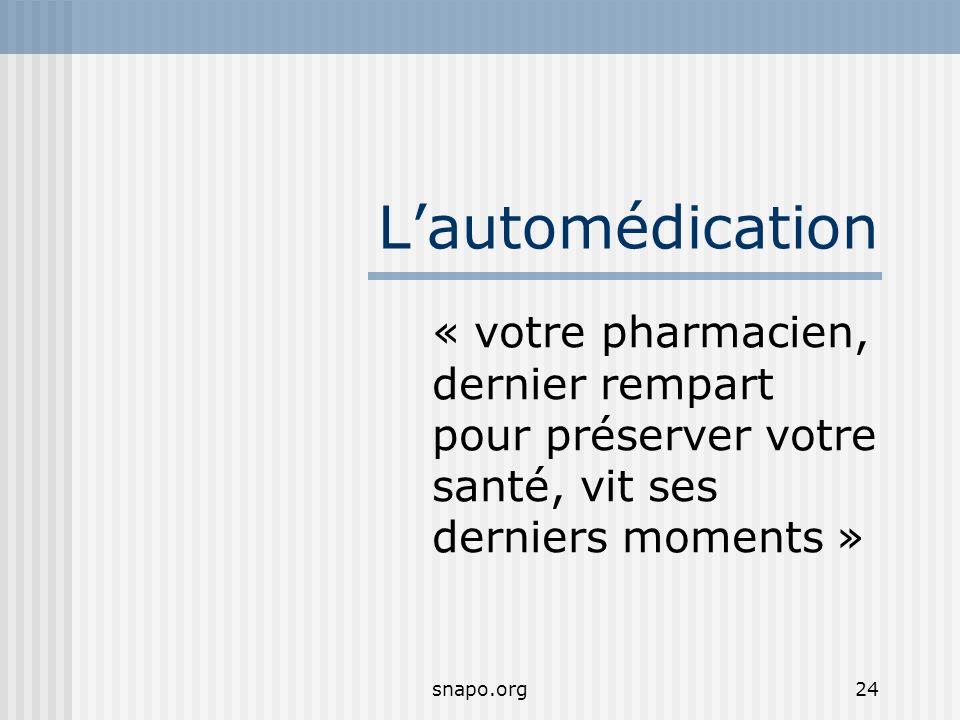 L'automédication « votre pharmacien, dernier rempart pour préserver votre santé, vit ses derniers moments »