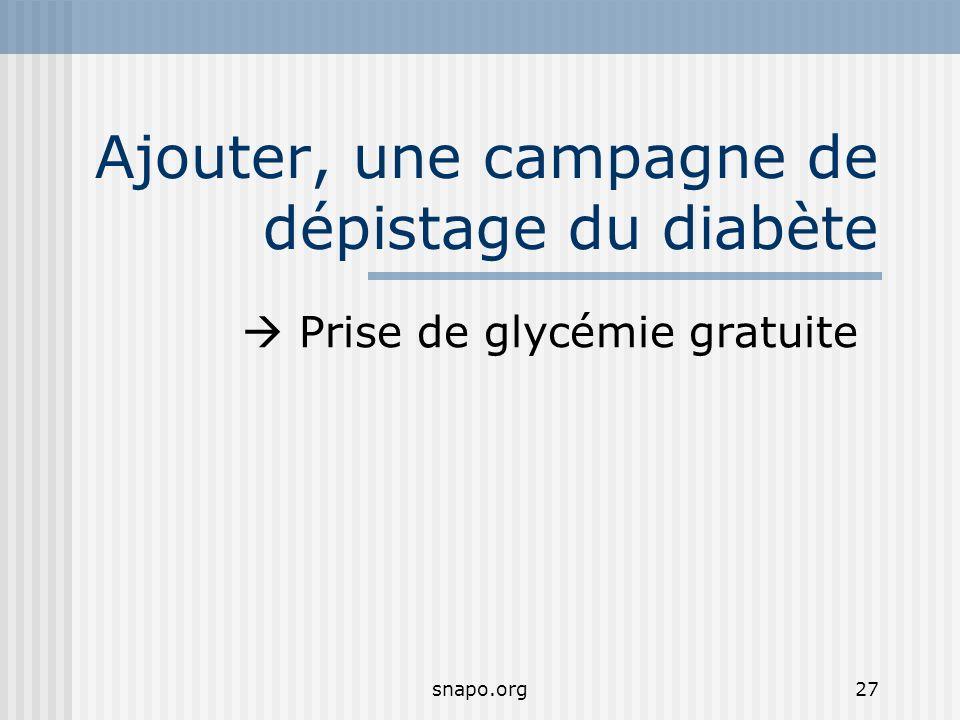 Ajouter, une campagne de dépistage du diabète