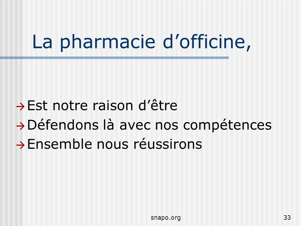 La pharmacie d'officine,