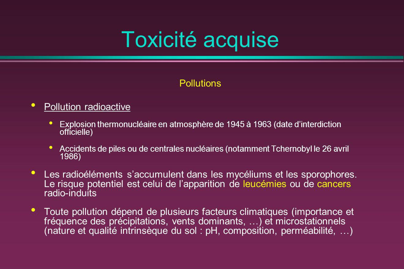 Toxicité acquise Pollutions Pollution radioactive