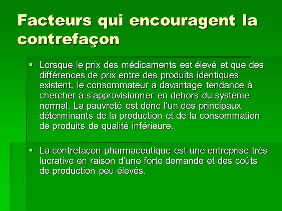 M dicaments contrefaits ppt video online t l charger for Entreprise lucrative