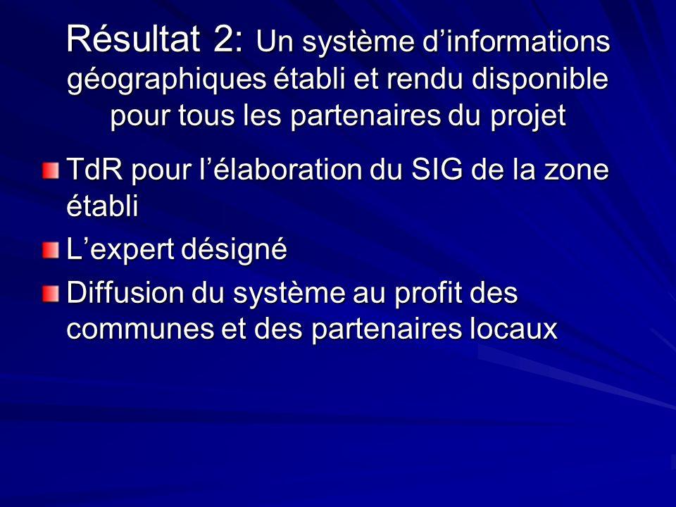 Résultat 2: Un système d'informations géographiques établi et rendu disponible pour tous les partenaires du projet