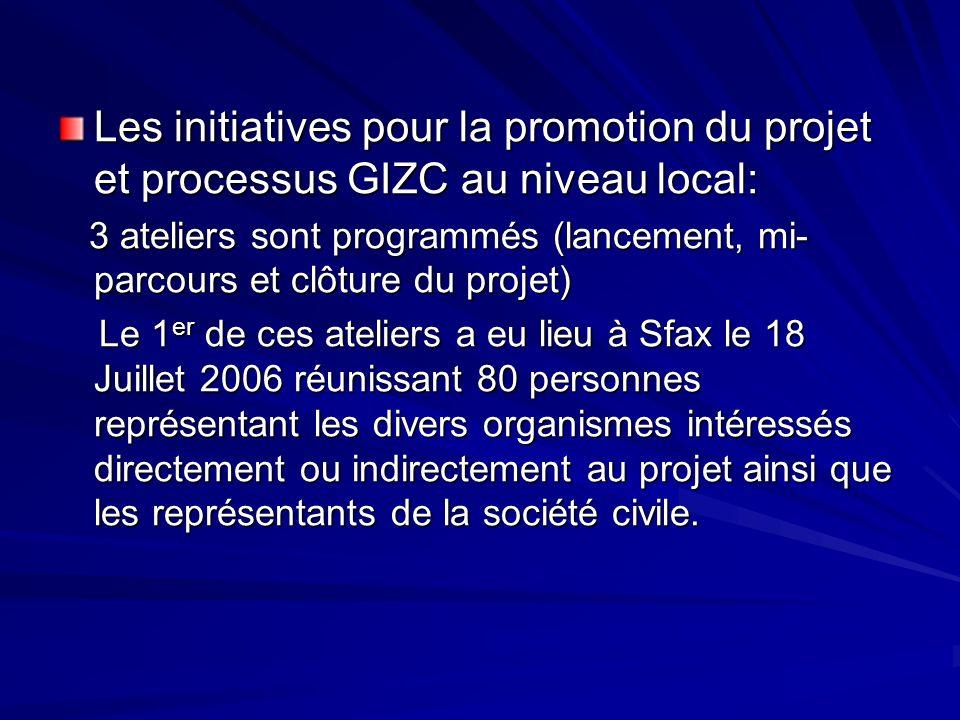 Les initiatives pour la promotion du projet et processus GIZC au niveau local: