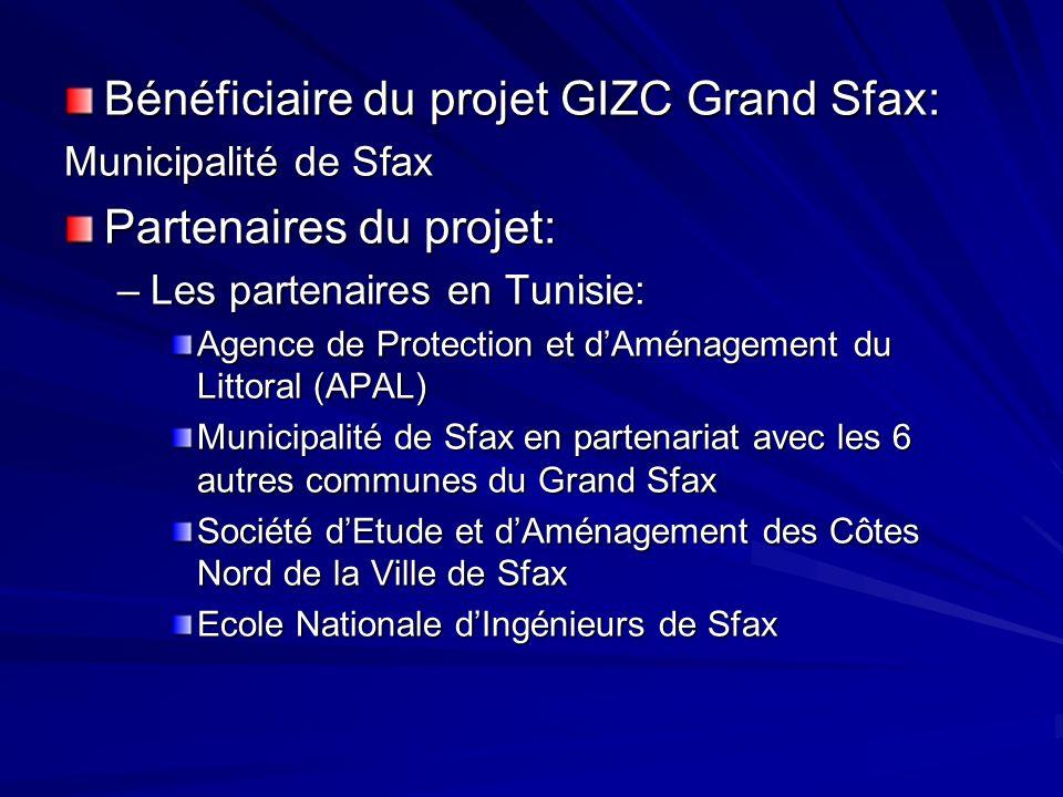 Bénéficiaire du projet GIZC Grand Sfax: Partenaires du projet: