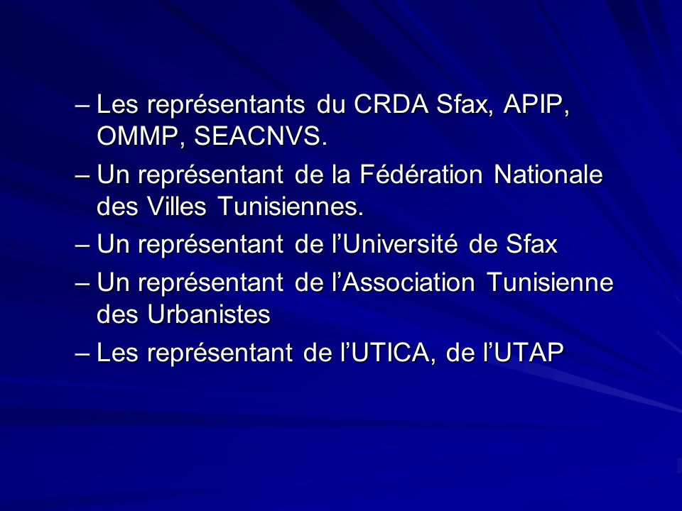 Les représentants du CRDA Sfax, APIP, OMMP, SEACNVS.
