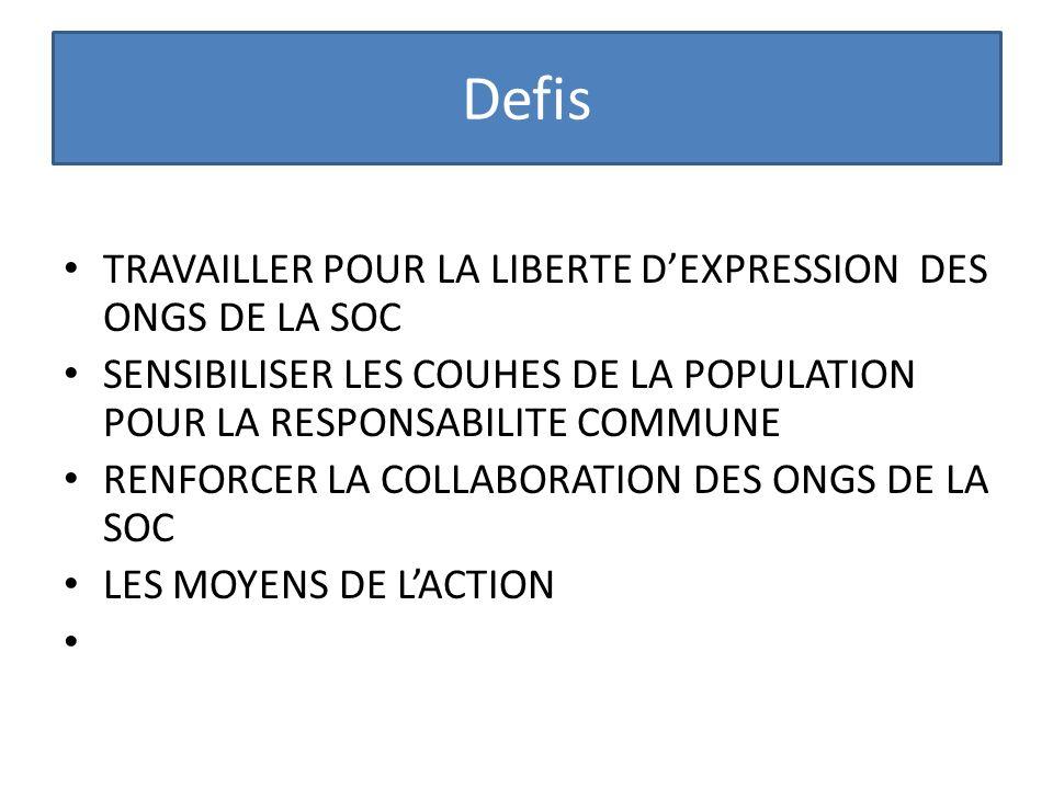 Defis TRAVAILLER POUR LA LIBERTE D'EXPRESSION DES ONGS DE LA SOC