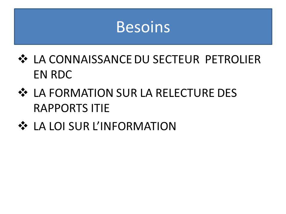 Besoins LA CONNAISSANCE DU SECTEUR PETROLIER EN RDC