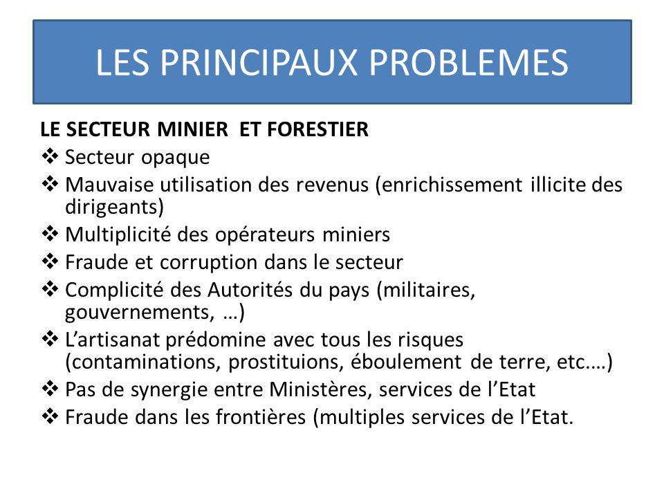 LES PRINCIPAUX PROBLEMES