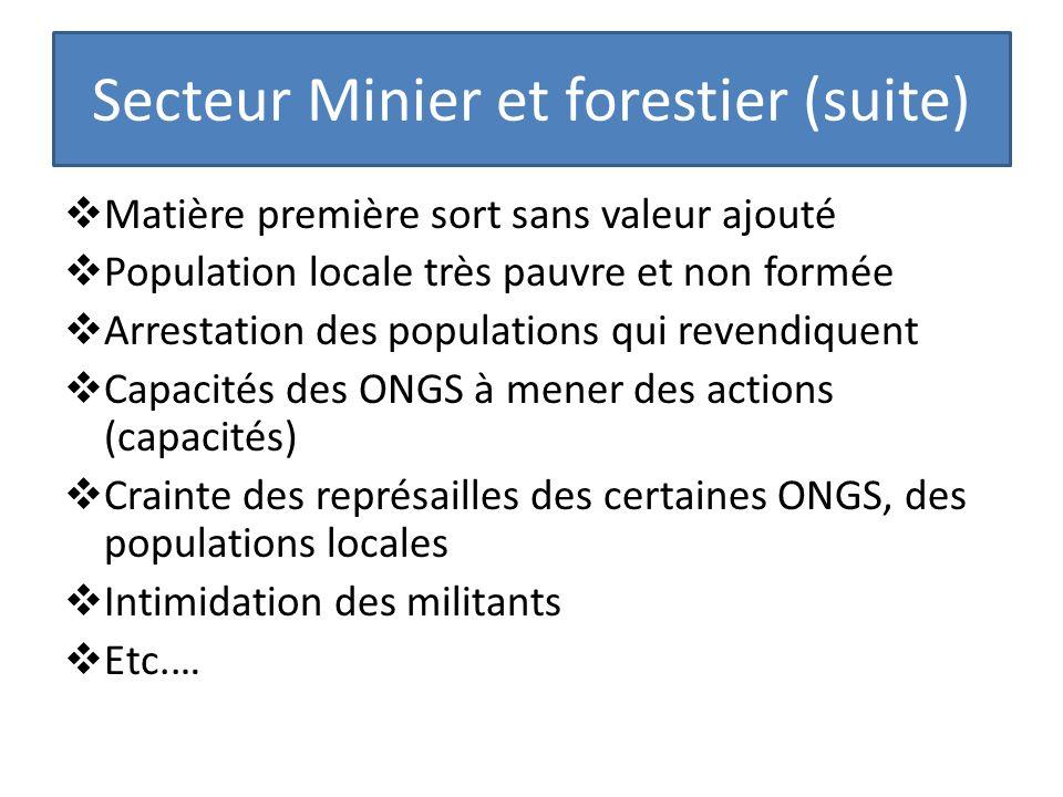 Secteur Minier et forestier (suite)