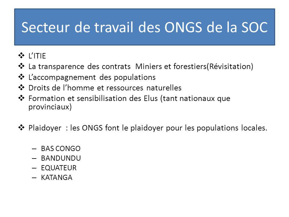 Secteur de travail des ONGS de la SOC