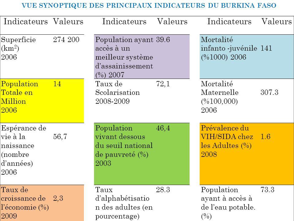 VUE SYNOPTIQUE DES PRINCIPAUX INDICATEURS DU BURKINA FASO